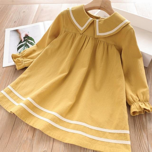 Bear Leader Girls Dress 2020 New Spring Casual Ruffles A Line Striped Full Sleeve Kids Dress For-Dresses-Bear Leader official store-Yellow AZ2199-3T-EpicWorldStore.com