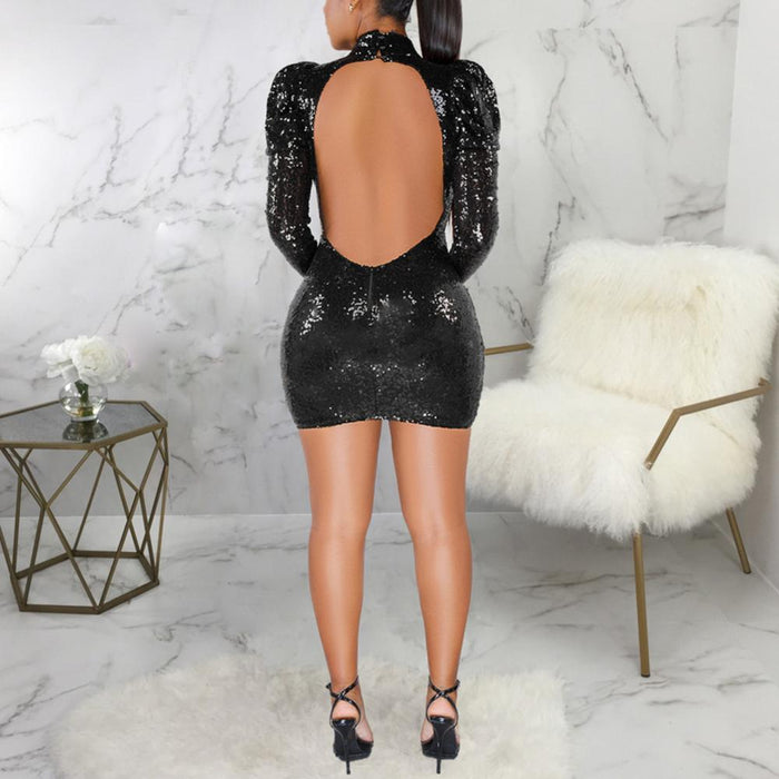 Bikitique Round Neck Hollow Foam Sleeve Backless Sequin Mini Party Dress Women Nightclub Sexy-Home-APPAREL & DROP SHIP Store-Black-S-EpicWorldStore.com