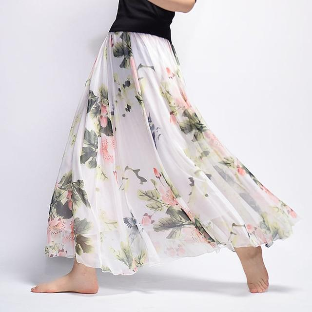 Brand Long Skirt Print Light Fabric Chiffon Summer Clothes Saia Beach Bohemian Maxi Skirts Women-Skirts-Embroidery Clothes Factory Store-Style Eight-One Size-EpicWorldStore.com