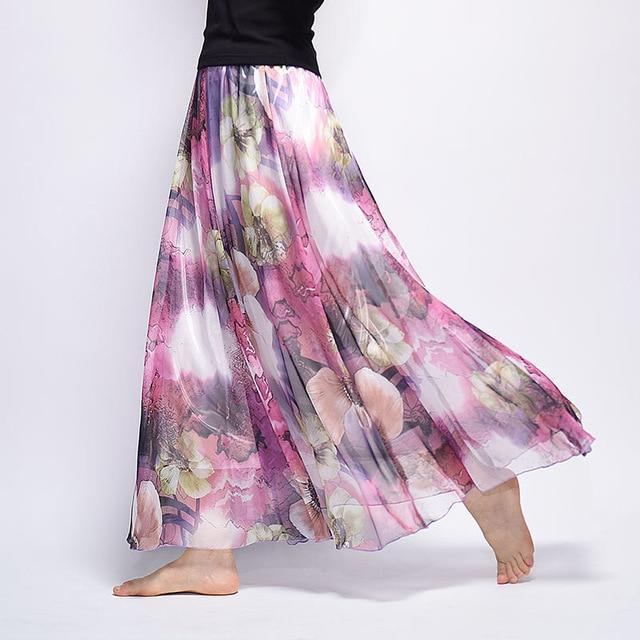 Brand Long Skirt Print Light Fabric Chiffon Summer Clothes Saia Beach Bohemian Maxi Skirts Women-Skirts-Embroidery Clothes Factory Store-Style Eighteen-One Size-EpicWorldStore.com