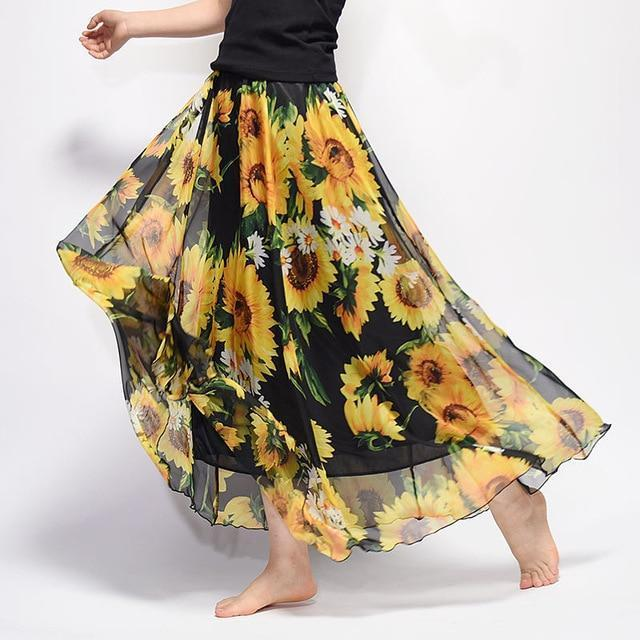 Brand Long Skirt Print Light Fabric Chiffon Summer Clothes Saia Beach Bohemian Maxi Skirts Women-Skirts-Embroidery Clothes Factory Store-Style Eleven-One Size-EpicWorldStore.com