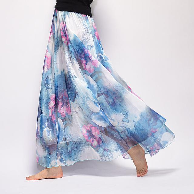 Brand Long Skirt Print Light Fabric Chiffon Summer Clothes Saia Beach Bohemian Maxi Skirts Women-Skirts-Embroidery Clothes Factory Store-Style Fifteen-One Size-EpicWorldStore.com