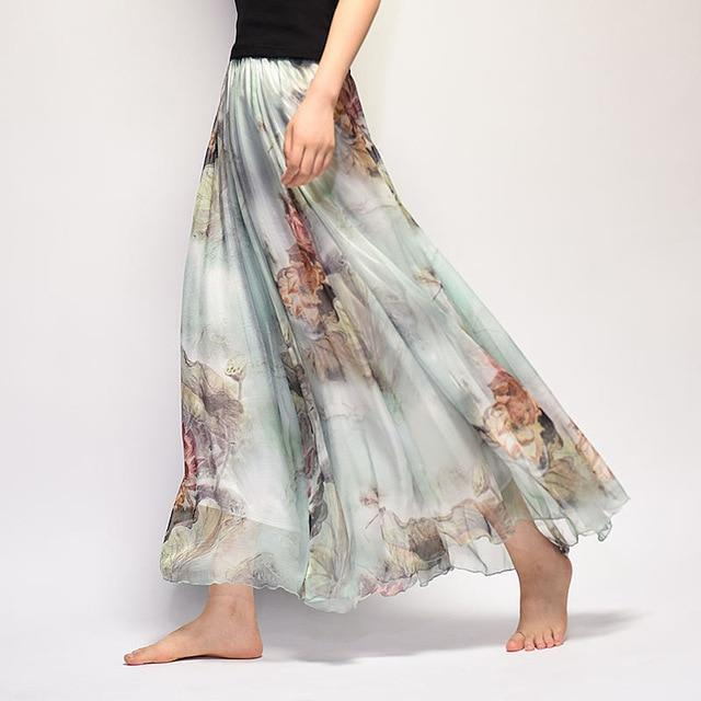 Brand Long Skirt Print Light Fabric Chiffon Summer Clothes Saia Beach Bohemian Maxi Skirts Women-Skirts-Embroidery Clothes Factory Store-Style Fourteen-One Size-EpicWorldStore.com