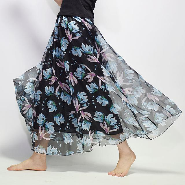 Brand Long Skirt Print Light Fabric Chiffon Summer Clothes Saia Beach Bohemian Maxi Skirts Women-Skirts-Embroidery Clothes Factory Store-Style Nine-One Size-EpicWorldStore.com