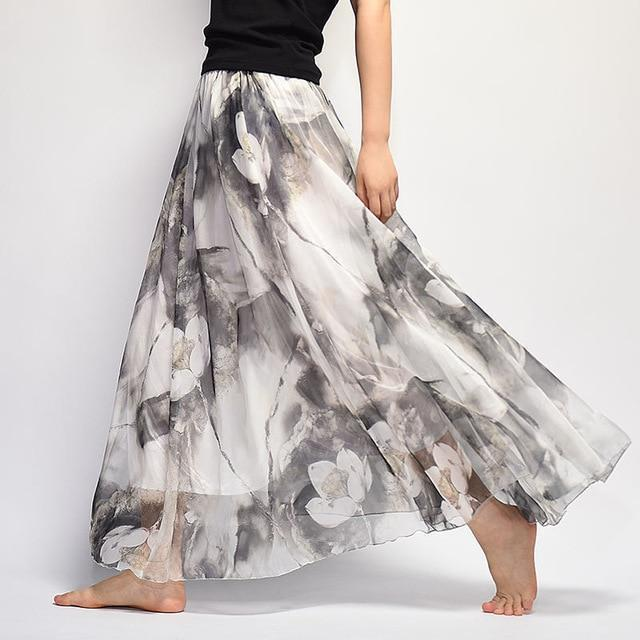 Brand Long Skirt Print Light Fabric Chiffon Summer Clothes Saia Beach Bohemian Maxi Skirts Women-Skirts-Embroidery Clothes Factory Store-Style Nineteen-One Size-EpicWorldStore.com