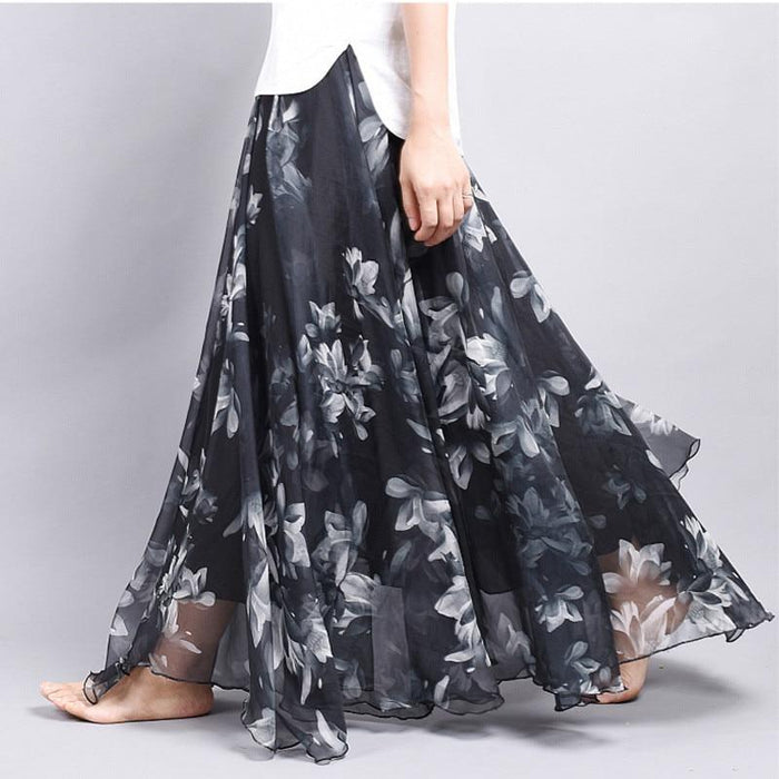 Brand Long Skirt Print Light Fabric Chiffon Summer Clothes Saia Beach Bohemian Maxi Skirts Women-Skirts-Embroidery Clothes Factory Store-Style One-One Size-EpicWorldStore.com