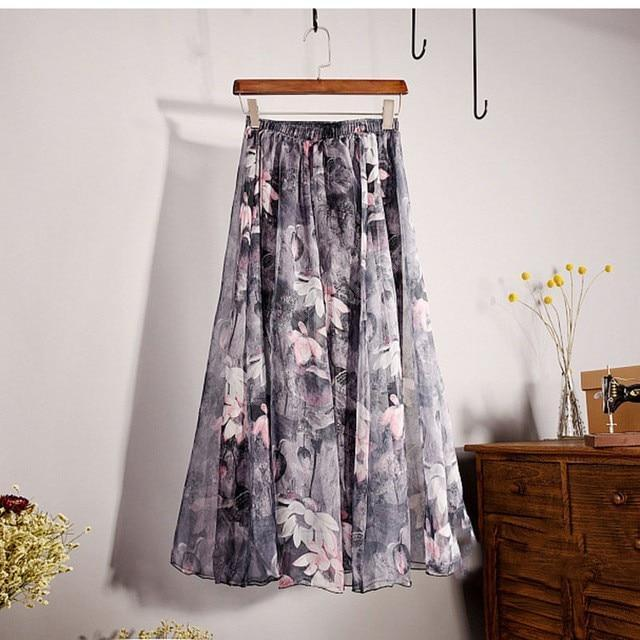Brand Long Skirt Print Light Fabric Chiffon Summer Clothes Saia Beach Bohemian Maxi Skirts Women-Skirts-Embroidery Clothes Factory Store-Style Seven-One Size-EpicWorldStore.com