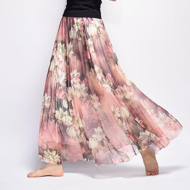 Brand Long Skirt Print Light Fabric Chiffon Summer Clothes Saia Beach Bohemian Maxi Skirts Women-Skirts-Embroidery Clothes Factory Store-Style Sixteen-One Size-EpicWorldStore.com