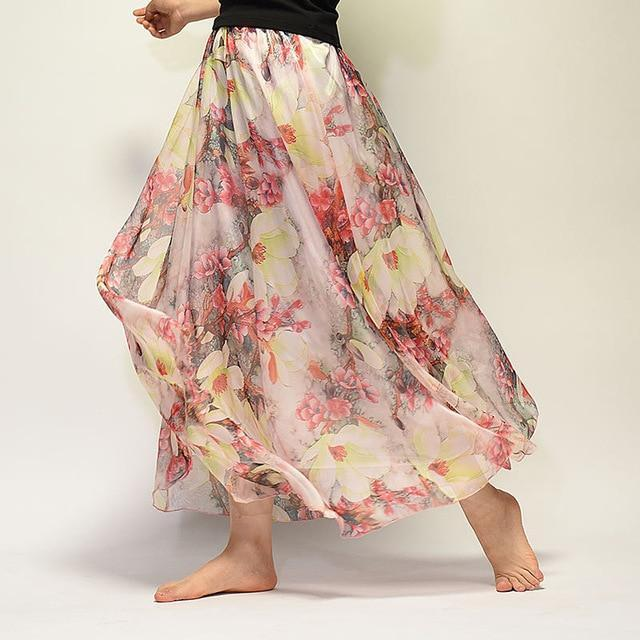 Brand Long Skirt Print Light Fabric Chiffon Summer Clothes Saia Beach Bohemian Maxi Skirts Women-Skirts-Embroidery Clothes Factory Store-Style Ten-One Size-EpicWorldStore.com