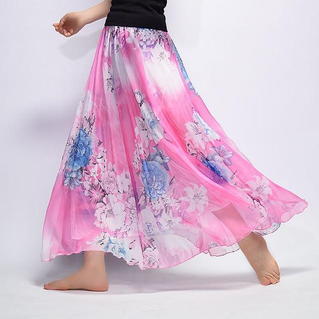 Brand Long Skirt Print Light Fabric Chiffon Summer Clothes Saia Beach Bohemian Maxi Skirts Women-Skirts-Embroidery Clothes Factory Store-Style Thirteen-One Size-EpicWorldStore.com