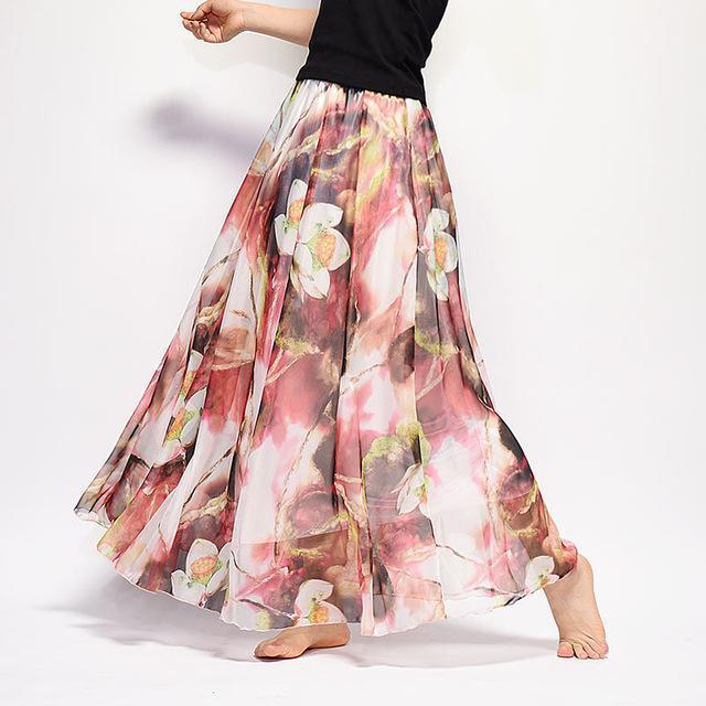 Brand Long Skirt Print Light Fabric Chiffon Summer Clothes Saia Beach Bohemian Maxi Skirts Women-Skirts-Embroidery Clothes Factory Store-Style Twelve-One Size-EpicWorldStore.com