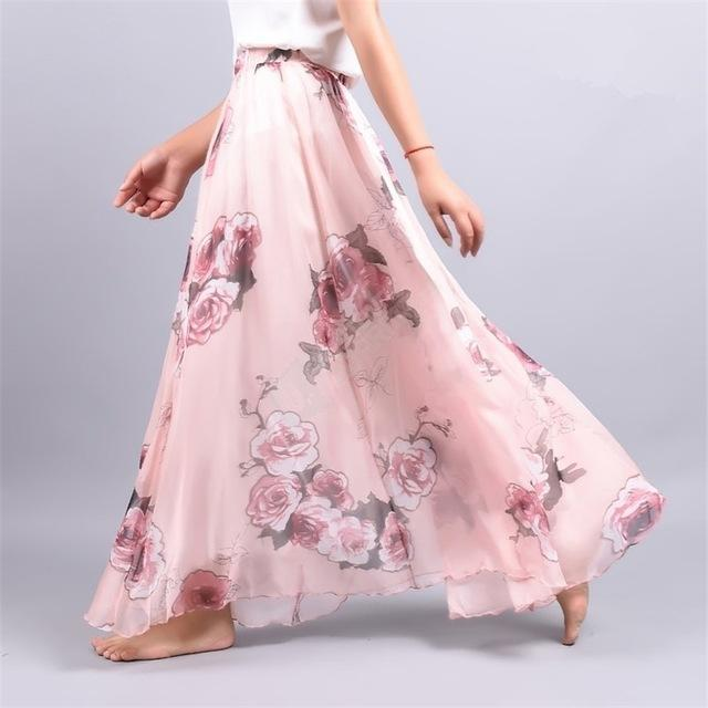 Brand Long Skirt Print Light Fabric Chiffon Summer Clothes Saia Beach Bohemian Maxi Skirts Women-Skirts-Embroidery Clothes Factory Store-Style Two-One Size-EpicWorldStore.com