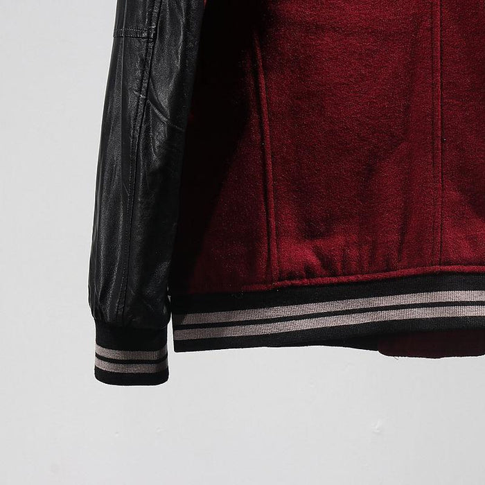 Burgundy Red Winter Fashion Brand Leather Sleeve College Baseball Jacket Men Varsity Coat Plus-Home-77 Choices Empty Cart Store-Red-L-EpicWorldStore.com