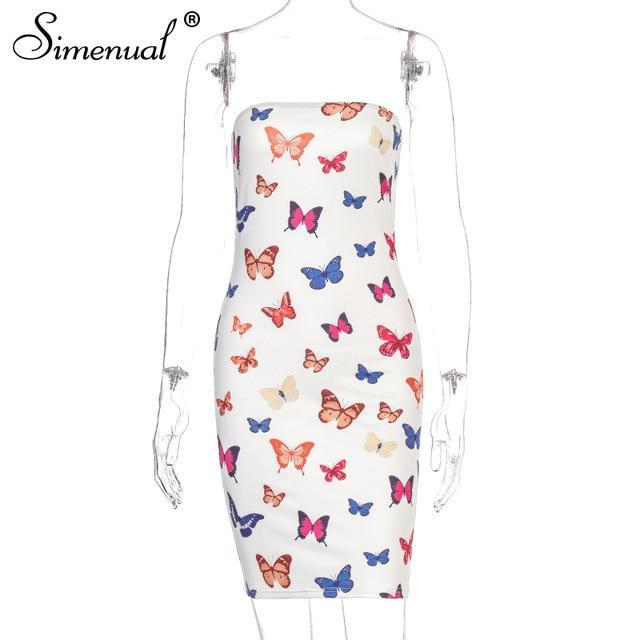 Butterfly Print Strapless Dress Bodycon Skinny Wrap Chest Mini Dresses Slim-Dresses-Simenual Official Store-as seen-S-EpicWorldStore.com