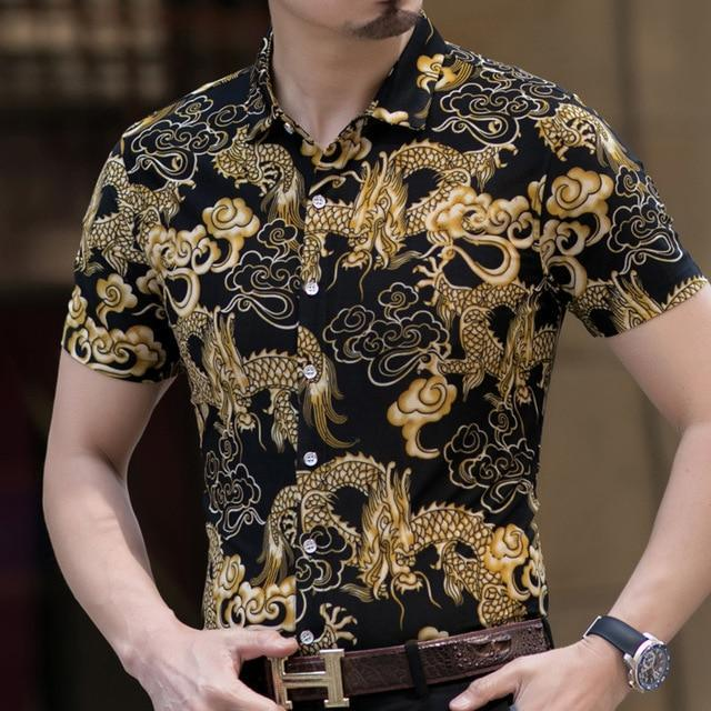 Casual 80% Silk Shirt Men Short Sleeve Both Sides Print Chinese Dragon Nation Flower Beach-Casual Shirts-Lance Donovan Official Store-911 B-M FOR 160 CM 60KG-EpicWorldStore.com
