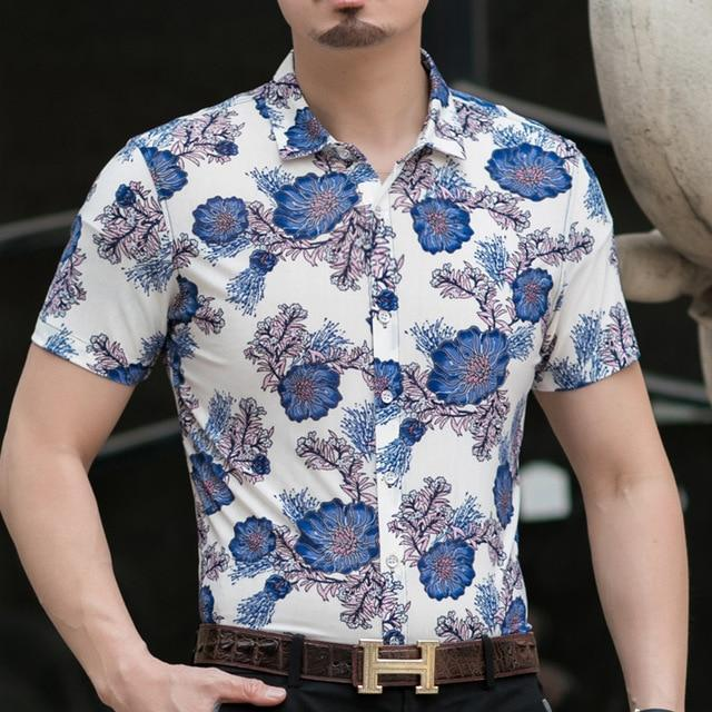 Casual 80% Silk Shirt Men Short Sleeve Both Sides Print Chinese Dragon Nation Flower Beach-Casual Shirts-Lance Donovan Official Store-918 BLUE-M FOR 160 CM 60KG-EpicWorldStore.com