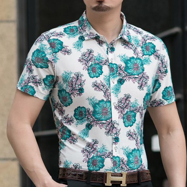 Casual 80% Silk Shirt Men Short Sleeve Both Sides Print Chinese Dragon Nation Flower Beach-Casual Shirts-Lance Donovan Official Store-918 GREEN-M FOR 160 CM 60KG-EpicWorldStore.com