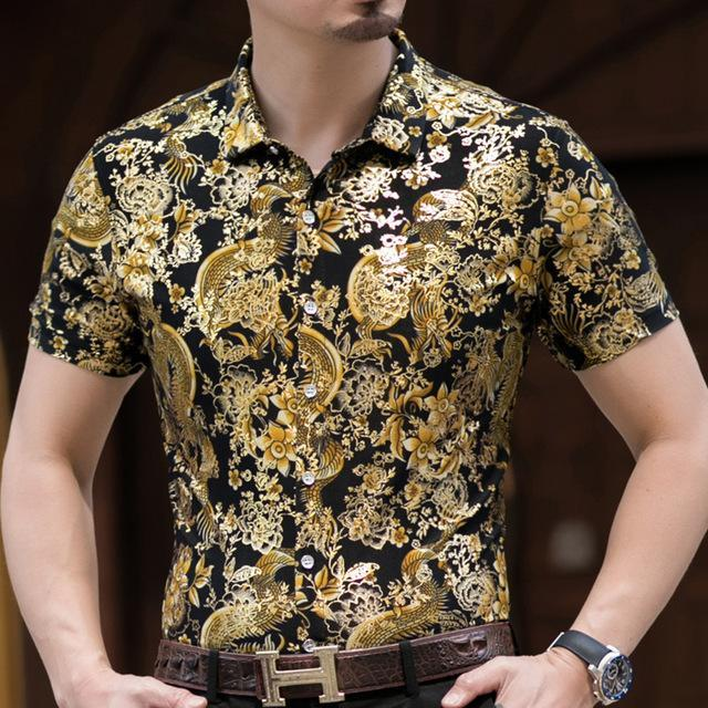 Casual 80% Silk Shirt Men Short Sleeve Both Sides Print Chinese Dragon Nation Flower Beach-Casual Shirts-Lance Donovan Official Store-920 BLACK-M FOR 160 CM 60KG-EpicWorldStore.com