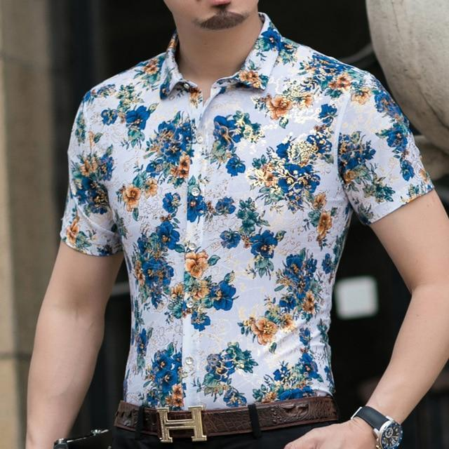 Casual 80% Silk Shirt Men Short Sleeve Both Sides Print Chinese Dragon Nation Flower Beach-Casual Shirts-Lance Donovan Official Store-921 BLUE-M FOR 160 CM 60KG-EpicWorldStore.com