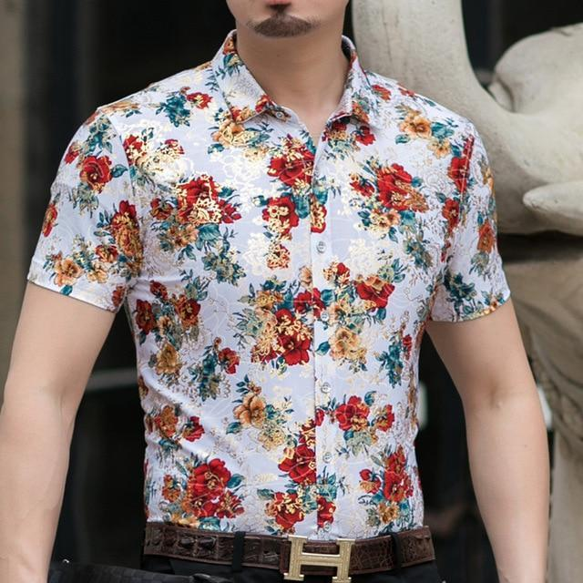Casual 80% Silk Shirt Men Short Sleeve Both Sides Print Chinese Dragon Nation Flower Beach-Casual Shirts-Lance Donovan Official Store-921 RED-M FOR 160 CM 60KG-EpicWorldStore.com