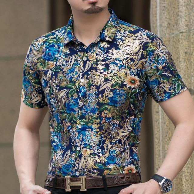 Casual 80% Silk Shirt Men Short Sleeve Both Sides Print Chinese Dragon Nation Flower Beach-Casual Shirts-Lance Donovan Official Store-922 BLUE-M FOR 160 CM 60KG-EpicWorldStore.com