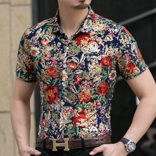 Casual 80% Silk Shirt Men Short Sleeve Both Sides Print Chinese Dragon Nation Flower Beach-Casual Shirts-Lance Donovan Official Store-922 RED-M FOR 160 CM 60KG-EpicWorldStore.com