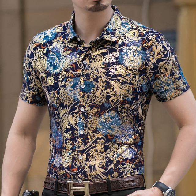 Casual 80% Silk Shirt Men Short Sleeve Both Sides Print Chinese Dragon Nation Flower Beach-Casual Shirts-Lance Donovan Official Store-923 BLUE-M FOR 160 CM 60KG-EpicWorldStore.com