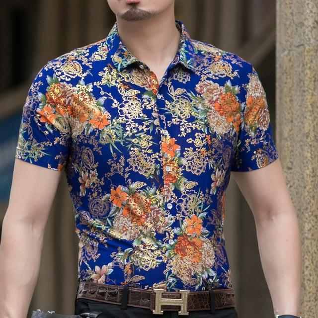 Casual 80% Silk Shirt Men Short Sleeve Both Sides Print Chinese Dragon Nation Flower Beach-Casual Shirts-Lance Donovan Official Store-924 BLUE-M FOR 160 CM 60KG-EpicWorldStore.com