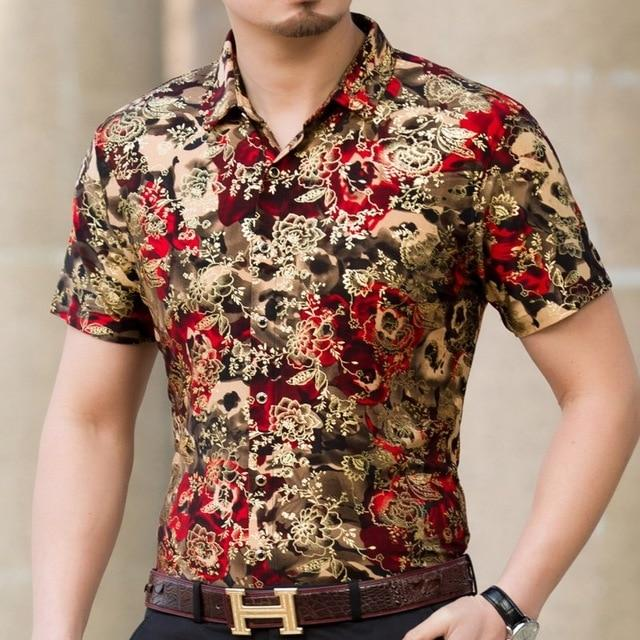 Casual 80% Silk Shirt Men Short Sleeve Both Sides Print Chinese Dragon Nation Flower Beach-Casual Shirts-Lance Donovan Official Store-925 RED-M FOR 160 CM 60KG-EpicWorldStore.com