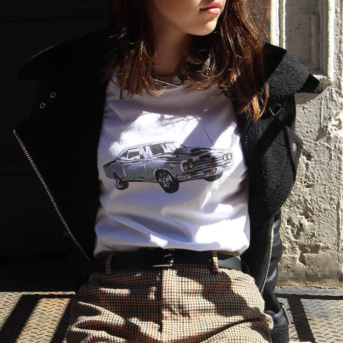 Casual Loose White Female T Shirt Short Sleeve Streetwear Car Print Aesthetic Summer Top Tee-T-Shirts-Monday Online Apparel Store-White-S-EpicWorldStore.com