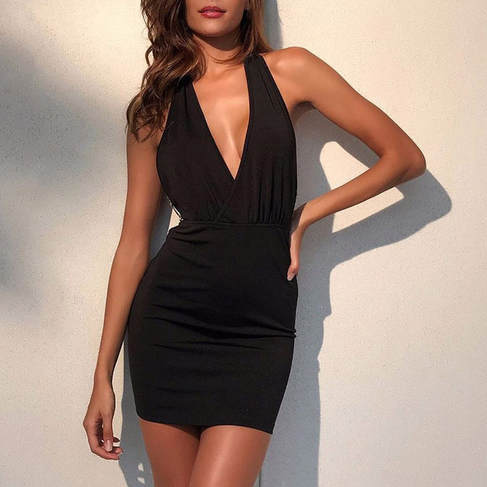 Casual Womens Summer Dress Retro Party Beach Beach Sun Dress Office Lady V Neck Sleeveless Loose-Home-LaLaLa123 Store-Black-S-EpicWorldStore.com
