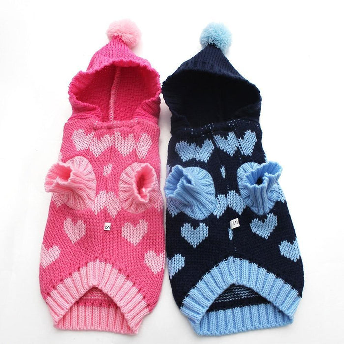 Cat Dog Sweater Hoodie Loves Jumper Jersey Pet Puppy Coat Jacket Warm Clothes For Dogs Cats Small-Dog Sweaters-YiWu SKS Pet Products Co.,Ltd Store-Pink-XS-EpicWorldStore.com