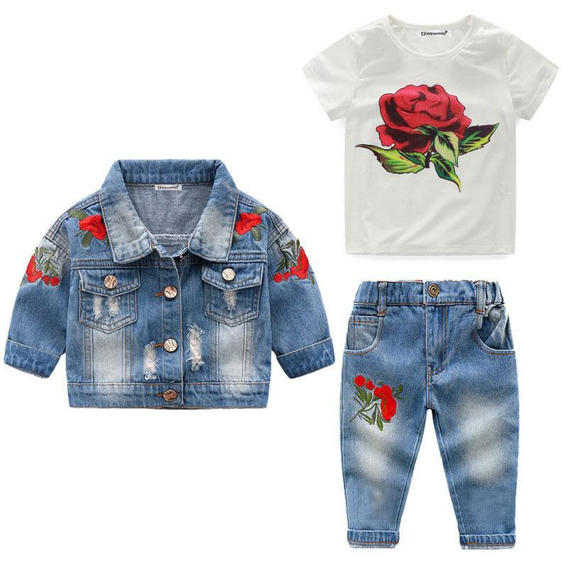 Children Clothing 2020 Spring Toddler Girl Clothes Coat+T Shirt+Jeans 3Pcs Outfit Kids Clothes-Clothing Sets-LZH Official Store-Picture color-2T-EpicWorldStore.com