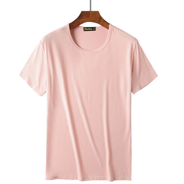 Comfortable Mens Traditional Crew Neck Bamboo Fiber Viscose Undershirt,Black White Pink-T-Shirts-SHISENBU Official Store-Light pink-M-EpicWorldStore.com