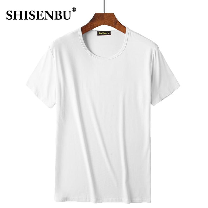 Comfortable Mens Traditional Crew Neck Bamboo Fiber Viscose Undershirt,Black White Pink-T-Shirts-SHISENBU Official Store-White-M-EpicWorldStore.com