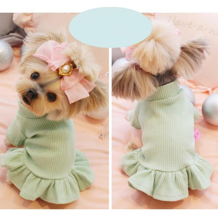 Cute Dog Party Wedding Dress Cat Pet Skirt Sweater Dress For Small Dog Girls Summer Cotton Base-Dog Dresses-gagyive Official Store-green-XS-EpicWorldStore.com