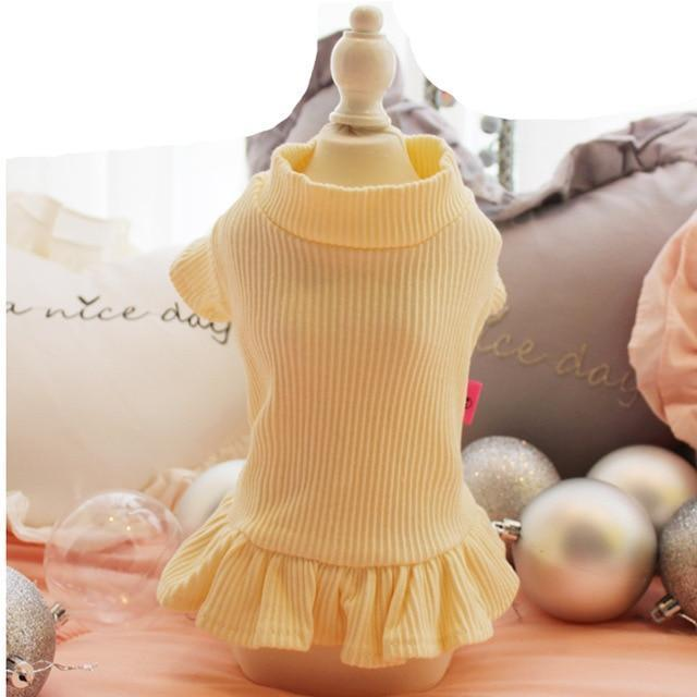 Cute Dog Party Wedding Dress Cat Pet Skirt Sweater Dress For Small Dog Girls Summer Cotton Base-Dog Dresses-gagyive Official Store-light yellow-XS-EpicWorldStore.com