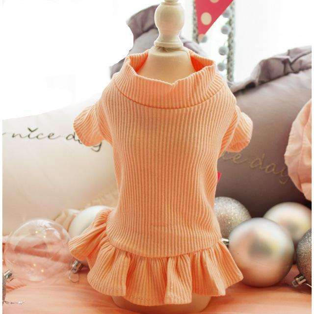 Cute Dog Party Wedding Dress Cat Pet Skirt Sweater Dress For Small Dog Girls Summer Cotton Base-Dog Dresses-gagyive Official Store-orange-XS-EpicWorldStore.com