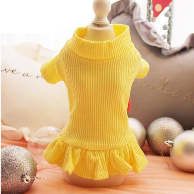 Cute Dog Party Wedding Dress Cat Pet Skirt Sweater Dress For Small Dog Girls Summer Cotton Base-Dog Dresses-gagyive Official Store-yellow-XS-EpicWorldStore.com