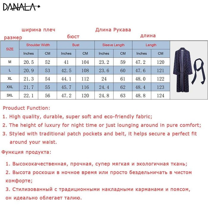 Danala Spring Autumn Loose Mens Bathrobe Striped Warm Comfortable Dressing Gown Pajamas V Neck-Robes-DANALA Official Store-Robe-Blue-M-EpicWorldStore.com