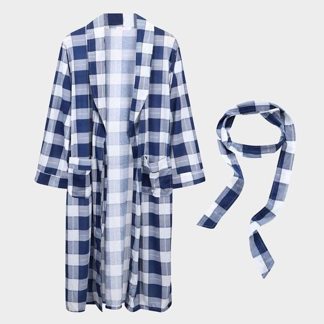 Danala Spring Autumn Loose Mens Bathrobe Striped Warm Comfortable Dressing Gown Pajamas V Neck-Robes-DANALA Official Store-Robe-White-M-EpicWorldStore.com