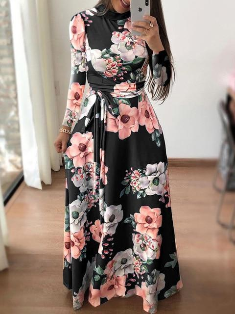Danjeaner New Style Women Long Sleeve Flower Printed Long Dress Spring Turtleneck Plus Size Maxi-Dresses-WingWing-black-S-EpicWorldStore.com