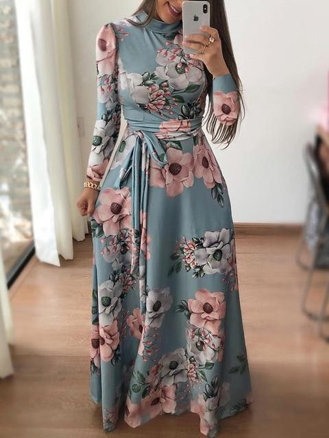 Danjeaner New Style Women Long Sleeve Flower Printed Long Dress Spring Turtleneck Plus Size Maxi-Dresses-WingWing-green-S-EpicWorldStore.com