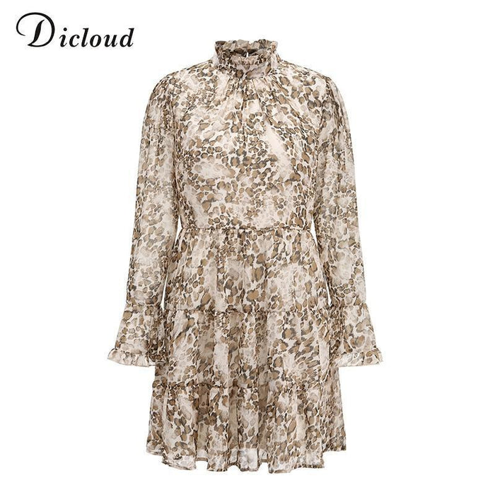 Dicloud Leopard Print High Neck Chiffon Dress For Women 2020 Spring Winter Long Sleeve Mini Party-Dresses-DICLOUD Official Store-Leopard-S-EpicWorldStore.com