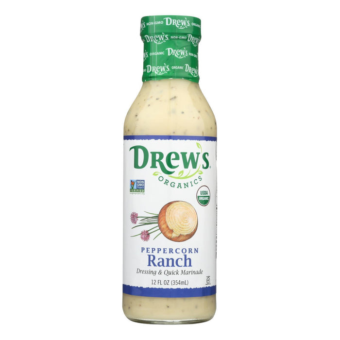 Drew'S Organics Organic Dressing & Quick Marinade, Peppercorn Ranch - Case Of 6 - 12 Fz-Eco-Friendly Home & Grocery-Drew's®-EpicWorldStore.com