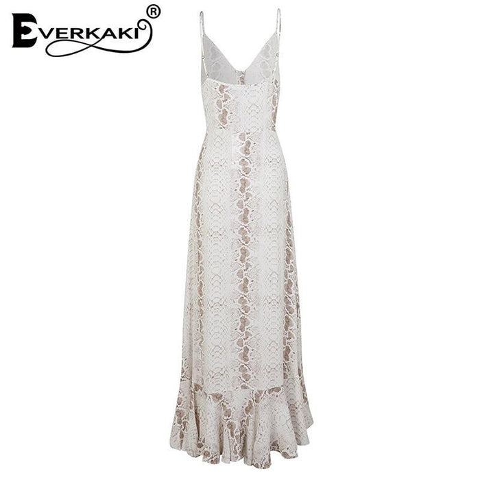Everkaki Women Long Dress Snake Pattern Print Vestidos Sexy Vintage Ladies Maxi Slip Dresses-Home-Everkaki Official Store-white-S-EpicWorldStore.com