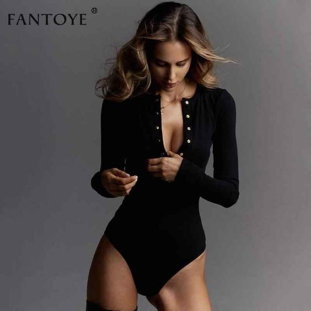 Fantoye Sexy Long Sleeve Bodysuits Women 2020 Spring Winter Black Slim Bodycon Jumpsuits Rompers-Bodysuits-FANTOYE Official Store-Black-S-EpicWorldStore.com
