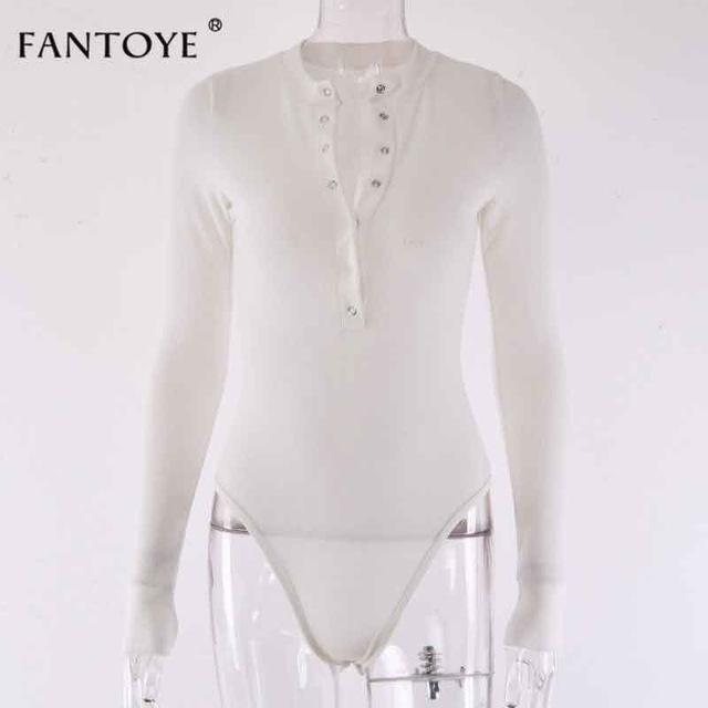 Fantoye Sexy Long Sleeve Bodysuits Women 2020 Spring Winter Black Slim Bodycon Jumpsuits Rompers-Bodysuits-FANTOYE Official Store-White-S-EpicWorldStore.com