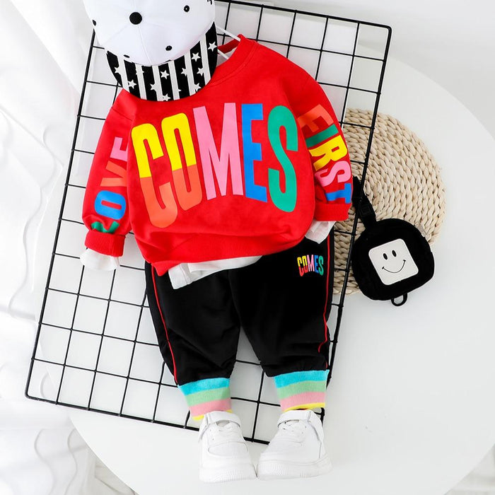 Fashion Baby Boy Clothing Set Letter T Shirt + Pant 2Pcs 2020 New Toddler Boys Spring Autumn Outwear-Clothing Sets-Kabeier Official Store-Black No Shoes-9M-EpicWorldStore.com