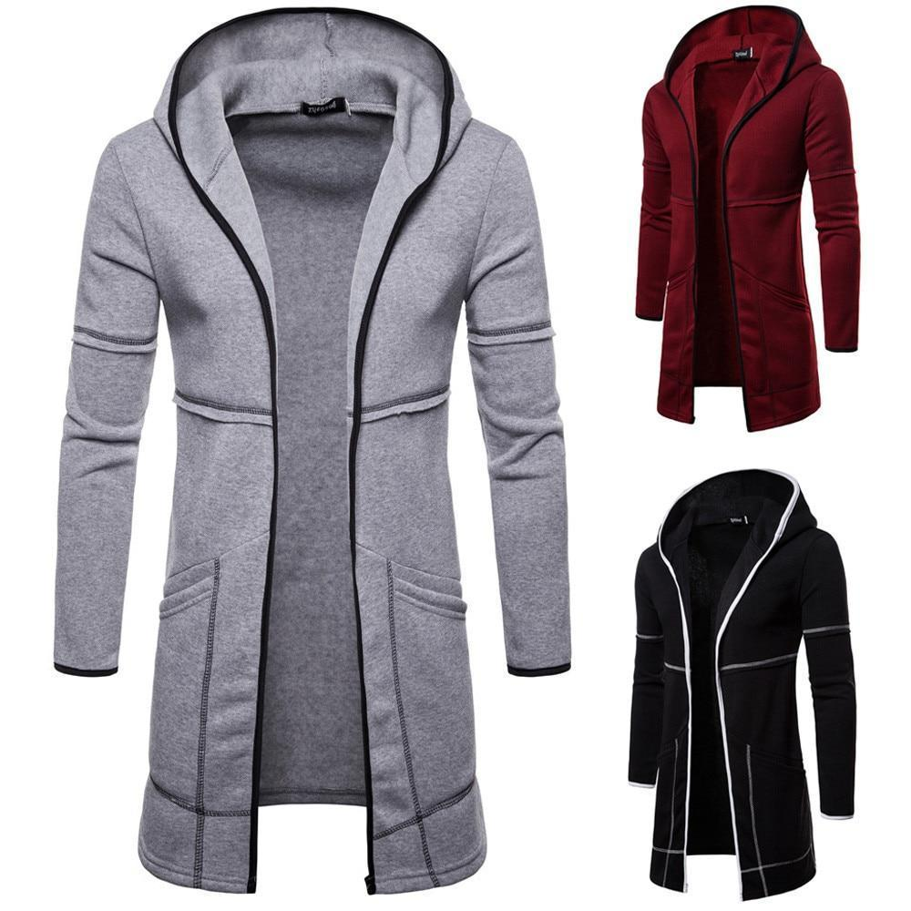 Fashion Mens Coats Hooded Solid Trench Coat Jacket Cardigan Long Sleeve Cotton Outwear Blouse Casual-Hoodies & Sweatshirts-Shop5169008 Store-Black-M-EpicWorldStore.com